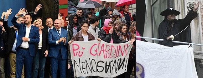Salvini e i sovranisti non riempiono piazza Duomo. Fischi al Papa, proteste dai balconi