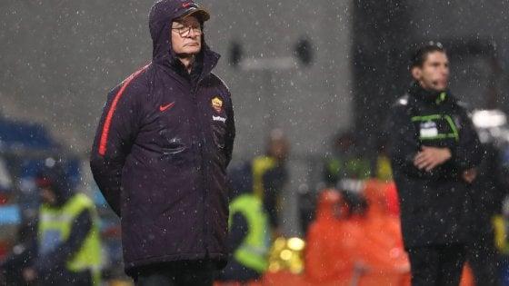 """Roma, Ranieri: """"Arrivare in Champions sarà dura anche il prossimo anno. De Rossi? Lo voglio pronto per il Parma"""""""