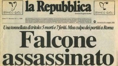 """""""Falcone assassinato"""". La prima pagina di Repubblica del 1992"""