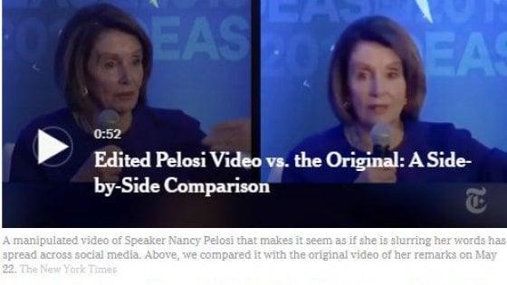 Usa, video manipolati di Nancy Pelosi divulgati sui social con il contributo di Donald Trump