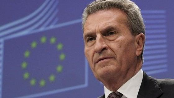 Il commissario Ue al Bilancio Guenther Oettinger