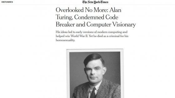 Nyt, dopo 65 anni l'omaggio ad Alan Turing, il genio matematico perseguitato per omosessualità