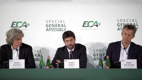 """Eca, Agnelli: """"Riforma Champions? Nulla è deciso, processo lungo"""""""