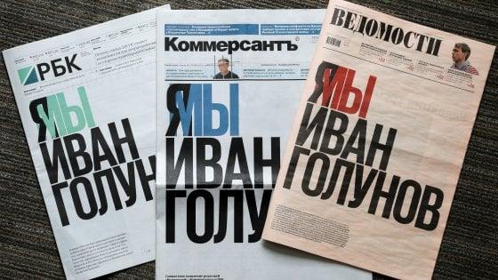La prima pagina per Golunov: la scelta di tre quotidiani russi