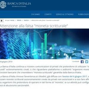 L'avviso sul sito di Bankitalia
