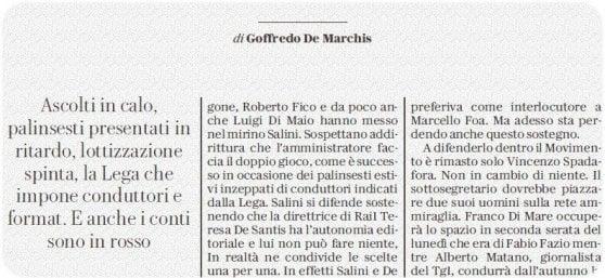 L'articolo di Goffredo De Marchis su Repubblica di ieri