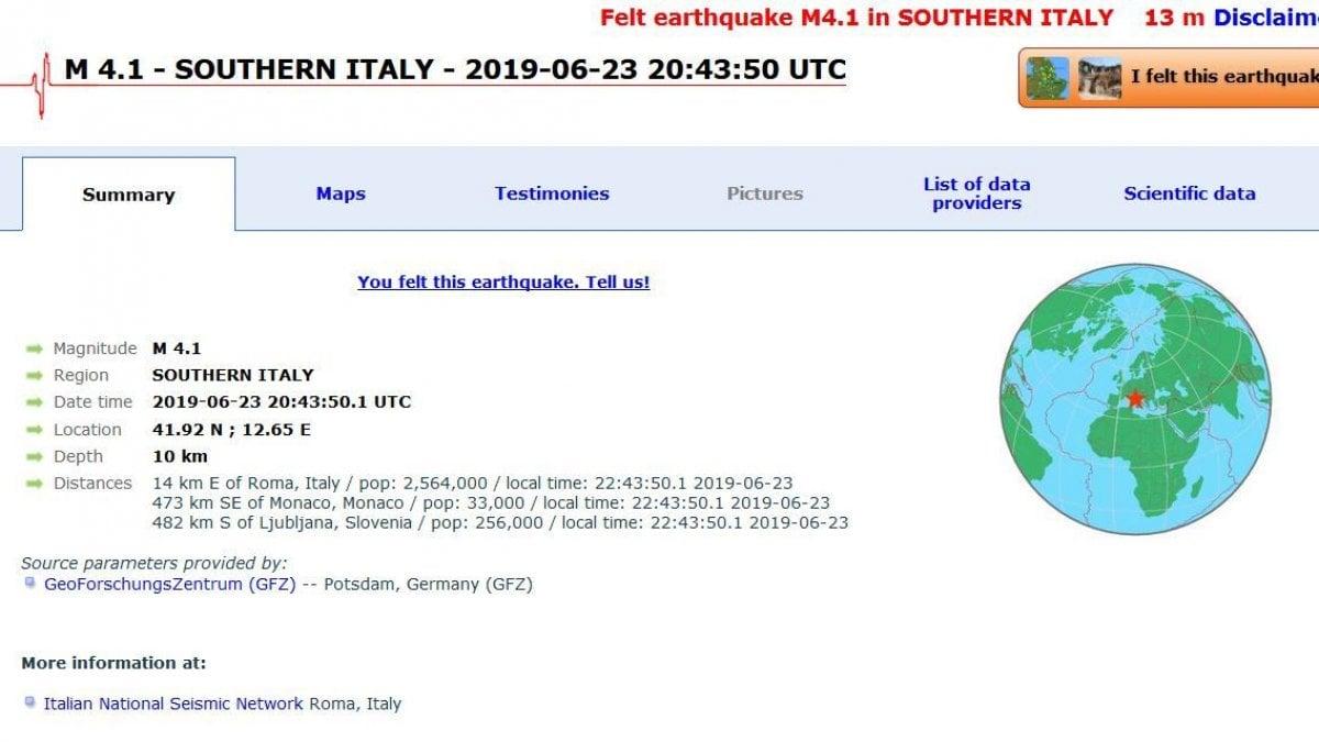 Terremoto, scossa avvertita a Roma: magnitudo 3,7. Paura e gente ...