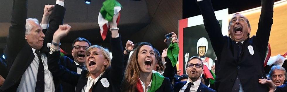 """Olimpiadi invernali 2026 assegnate a Milano e Cortina. Stoccolma battuta con 47 voti contro 34 Conte: ''E' il sogno di tutto il Paese'' FotoRep Tv Mattarella: """"Bellezza e ospitalità: Italia pronta"""""""