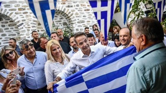 Il leader di Nea Demokratia (Nd) Kyriakos Mitsotakis