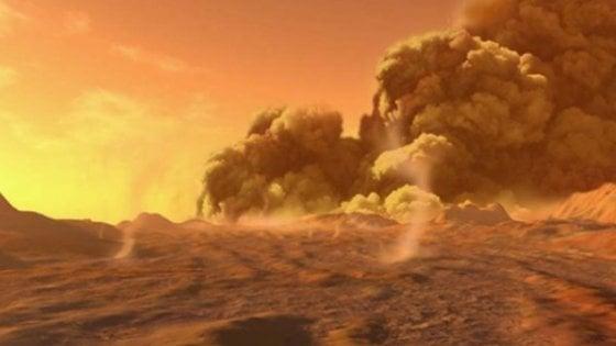 Tempeste di polvere imperversano sul Polo Nord di Marte