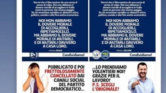 """La memoria dei social: quando la Lega beffava il Pd """"rubando"""" a Renzi lo slogan sui migranti"""
