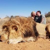Sudafrica, il bacio dei cacciatori davanti al leone ucciso