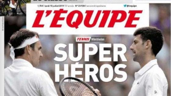 """Wimbledon, la stampa mondiale celebra Djokovic e Federer: """"La più bella finale di sempre"""""""
