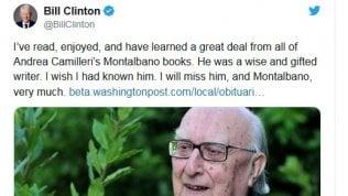 """Bill Clinton omaggia Camilleri con un tweet: """"Grande scrittore, lui e Montalbano mi mancheranno""""di GIOACCHINO AMATO"""