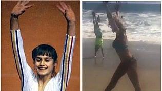 Nadia Comaneci, ruota perfetta in spiaggia a 43 anni dallo storico 10