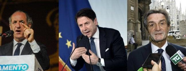 Zaia, governatore Veneto, il Premier Conte e Fontana, governatore Lombardia