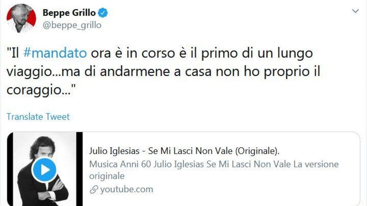 """M5S, Grillo ironizza sul mandato zero annunciato da Di Maio: """"Di andarmene a casa non ho proprio il coraggio..."""""""
