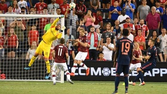 """Calcio, Icc: Milan-Bayern 0-1, Giampaolo: """"Sono soddisfatto"""". Ma Theo Hernandez s'infortuna"""