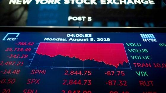 Le Borse tremano per la guerra Trump-Cina. Tonfo a Wall Street, giù anche il Nasdaq