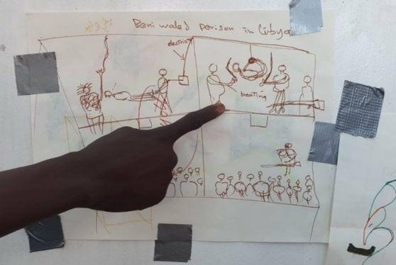 Sul ponte della Ocean Viking l'arte dei migranti