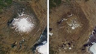 """L'Islanda celebra con una """"lettera al futuro"""" il ghiacciaio scomparso dopo 700 anni foto a confronto"""