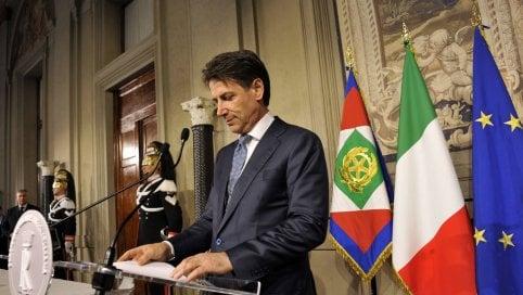 Giuseppe Conte al Quirinale il giorno in cui ricevette l'incarico da Sergio Mattarella