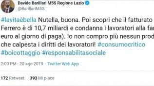 """Il 5S Barillari attacca la Nutella, Twitter non perdona: """"La Ferrero non ha mai licenziato nessuno"""""""
