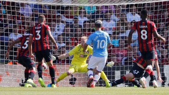 Inghilterra, il City risponde al Liverpool: Aguero piega il Bournemouth, Cade il Tottenham
