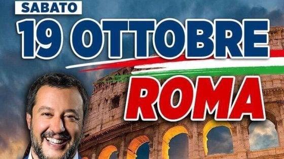 """Salvini invoca la piazza: """"Tutti a Roma contro il governo del Conte-Monti"""""""