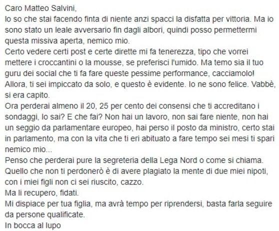 """Caso giornalista Rai, Salvini: """"Mi invita al suicidio. E tira in ballo mia figlia"""". La replica: """"Falso, strumentalizza"""""""