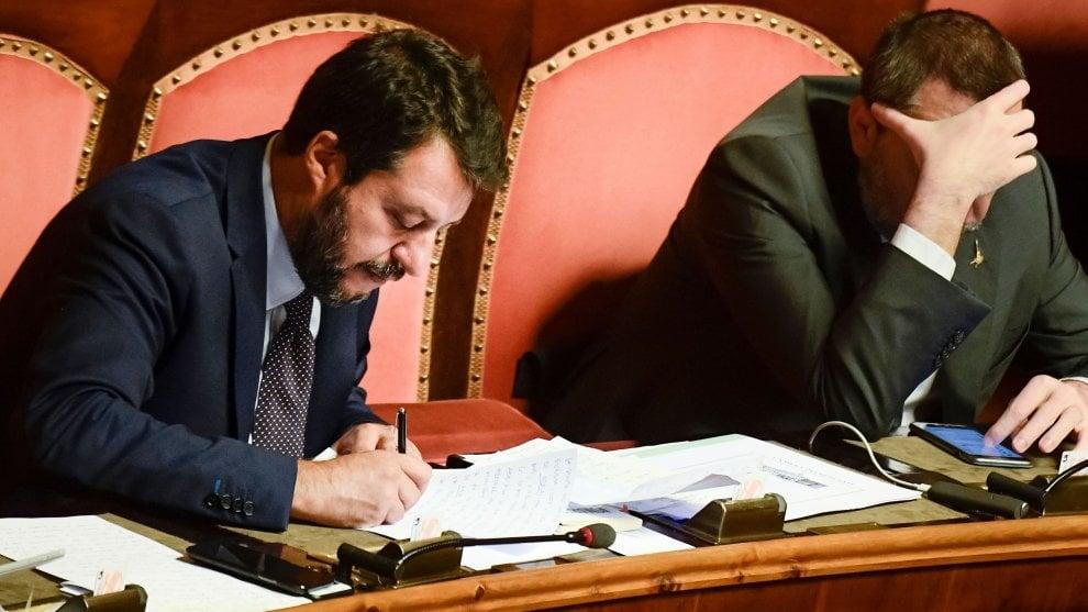 Governo, la fiducia Senato. Gli appunti di Salvini per il suo discorso