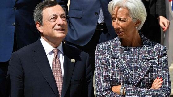 Mario Draghi e Christine Lagarde: l'avvicendamento al vertice della Bce previsto per fine ottobre