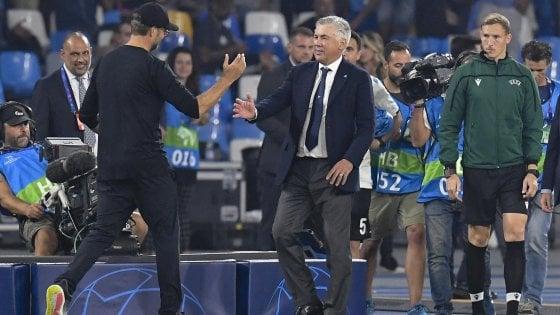 """Napoli, Ancelotti: """"Una vittoria di grande maturità"""". Klopp: """"Siamo stati poco concreti"""""""
