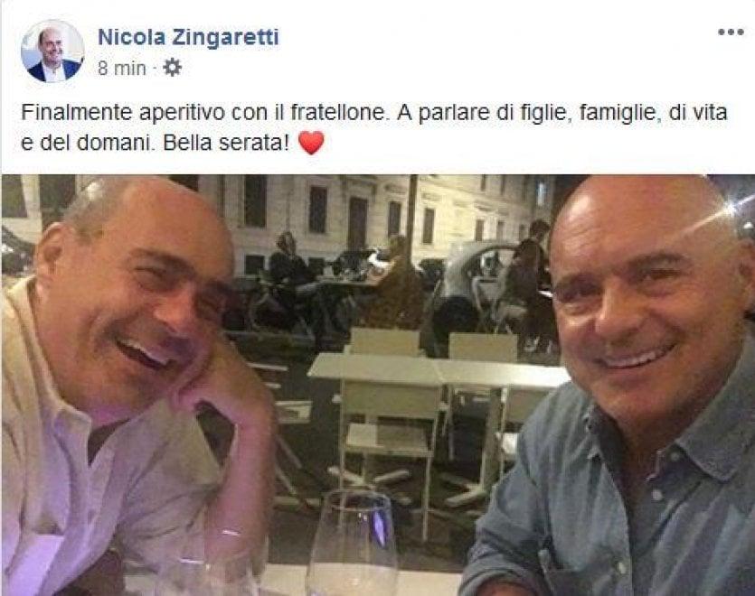 """Pd, per Zingaretti aperitivo con il """"fratellone"""" Luca: """"Serata a parlare di vita"""""""