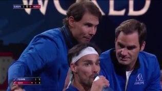 """Federer e Nadal 'allenano' Fognini: """"Non devi più essere negativo"""""""