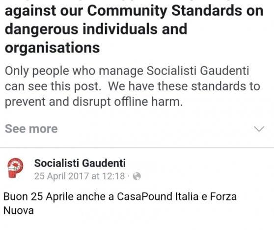 """Facebook chiude la pagina dei """"Socialisti gaudenti"""" per dei post ironici su CasaPound"""