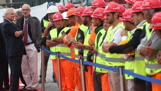Genova, Il varo del primo impalcato del nuovo ponte sul Polcevera con Pietro Salini, ad di Salini Impregilo, e Renzo Piano