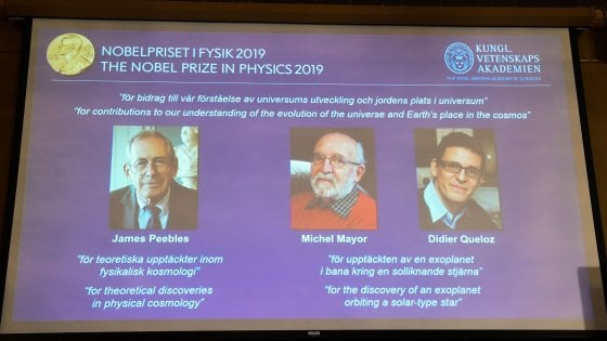 Nobel per la Fisica a James Peebles, Michel Mayor e Didier Queloz