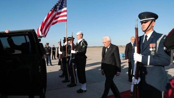 Sergio Mattarella al suo arrivo negli Stati Uniti