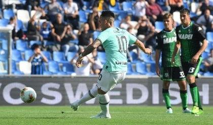 Doppiette Lautaro e Lukaku, poi brividi: Sassuolo-Inter  3-4