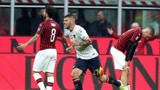 Milan-Lecce 2-2: Calderoni nel recupero rovina il debutto di Pioli