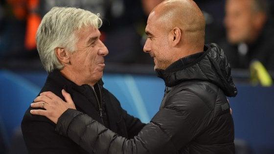 """Atalanta, Gasperini: """"Dovevamo tenere di più il vantaggio"""". Guardiola: """"Sono forti, ti fanno giocare al limite"""""""