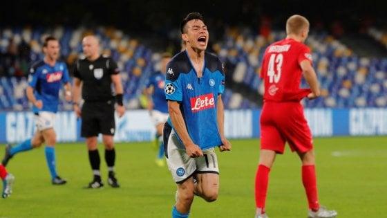 Napoli-Salisburgo 1-1, Lozano tiene a galla gli azzurri, ma la qualificazione è rimandata