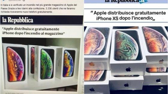 """""""Apple regala iPhone dopo un incendio"""", non cliccate: è una truffa (di cui Repubblica è vittima come gli utenti)"""