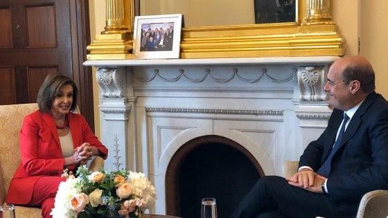"""Usa, Zingaretti vede la speaker della Camera Pelosi: """"L'Italia si è rimessa sui binari giusti"""". E critica i dazi"""