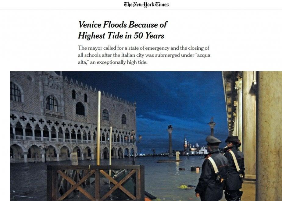 Venezia inondata sui giornali di tutto il mondo