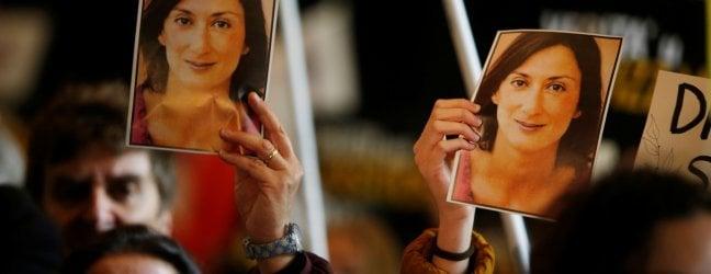 Il volto della giornalista a corteo contro la corruzione a Malta