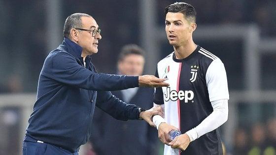 Juventus, con l'Atalanta senza Ronaldo. Sarri: ''Chiarimento? Non c'è bisogno''
