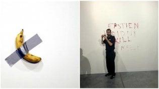 Sul muro della banana di Cattelan appare un'inquietante scritta