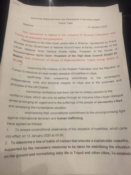 Libia, Haftar rinvia la firma dell'accordo per il cessate il fuoco a Mosca